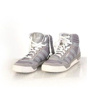 Adidas Gray White High Top Athletic Sneakers Sz 8